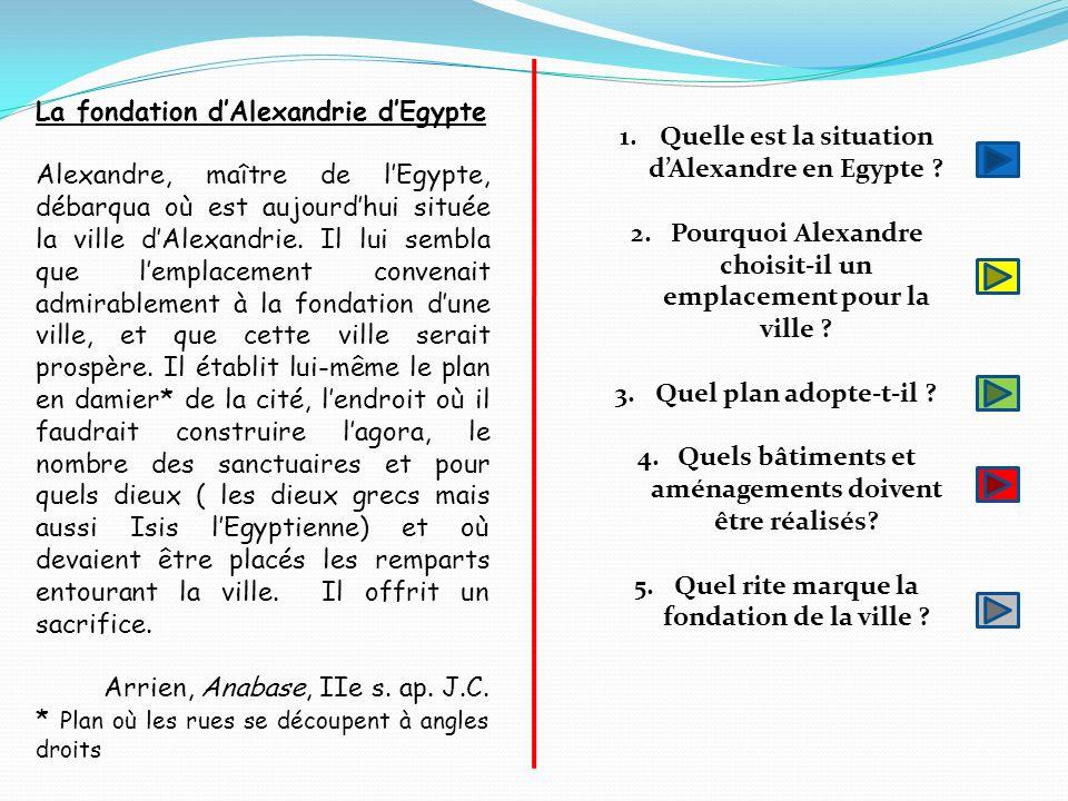 La fondation d'Alexandrie d'Egypte