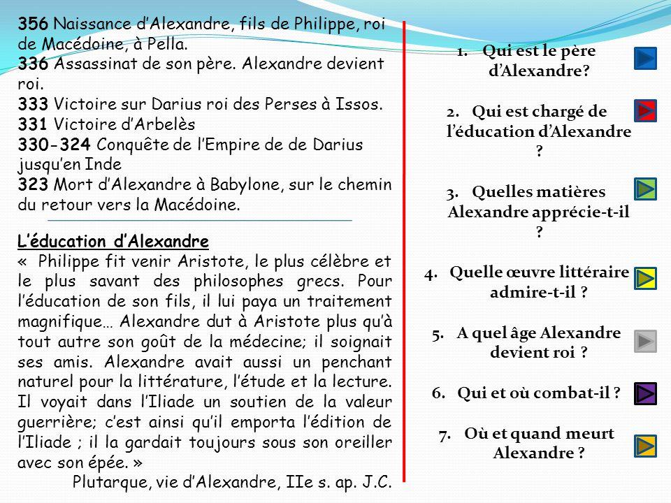 336 Assassinat de son père. Alexandre devient roi.
