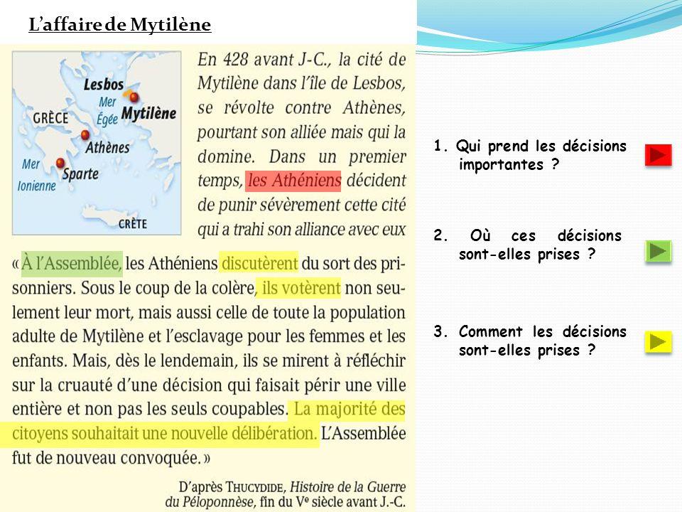 L'affaire de Mytilène 1. Qui prend les décisions importantes