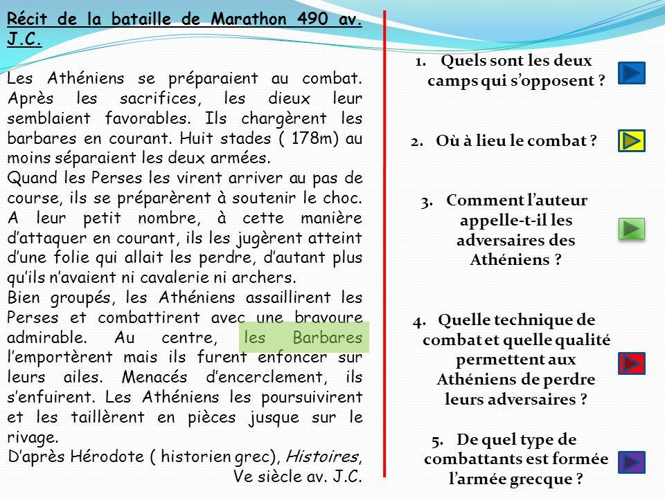 Récit de la bataille de Marathon 490 av. J.C.