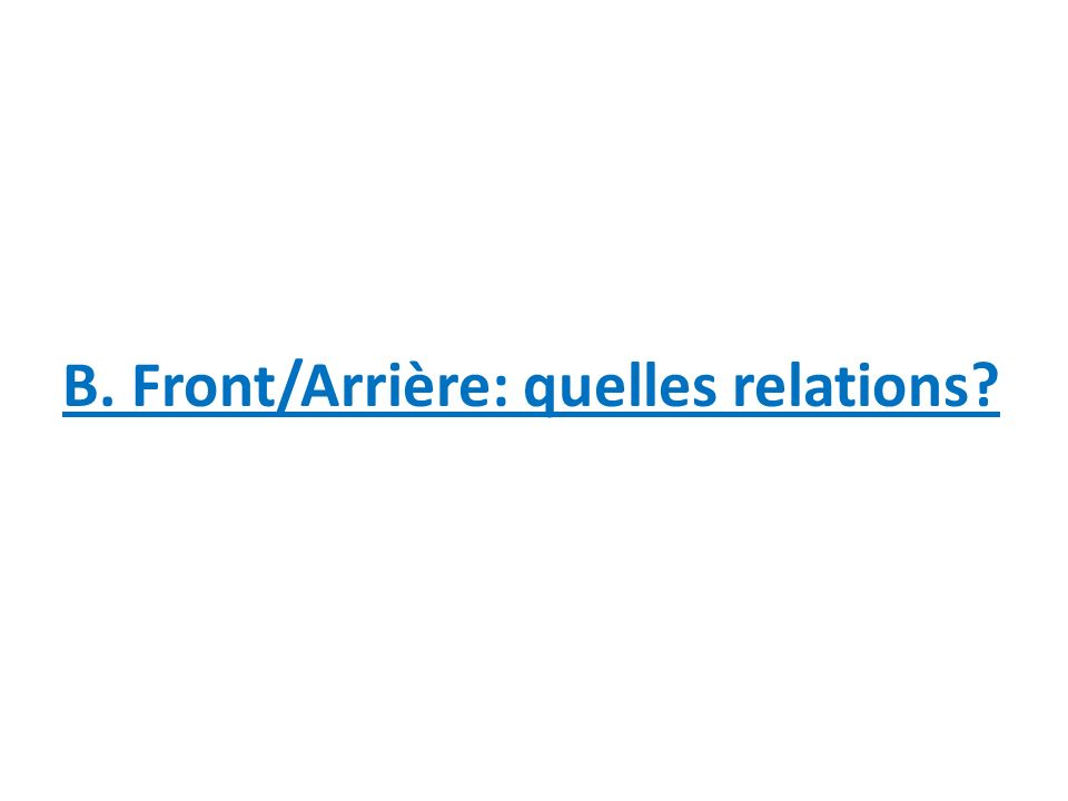 B. Front/Arrière: quelles relations
