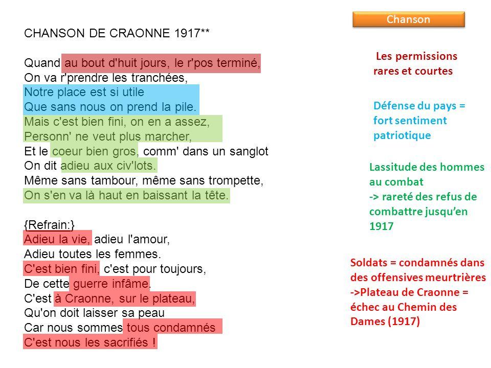 CHANSON DE CRAONNE 1917**