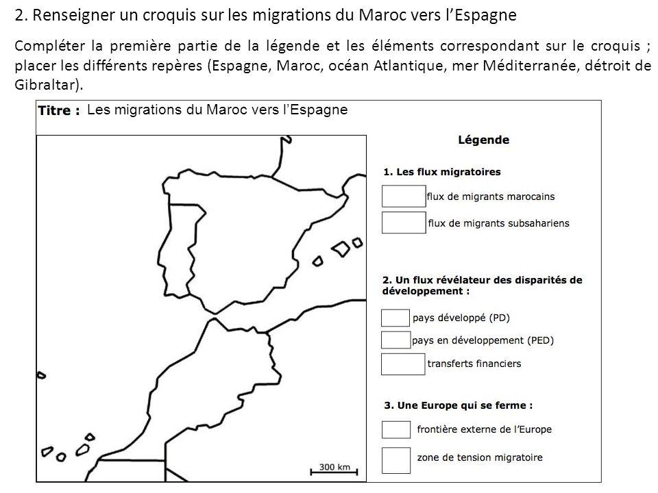 2. Renseigner un croquis sur les migrations du Maroc vers l'Espagne