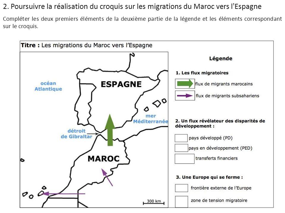 2. Poursuivre la réalisation du croquis sur les migrations du Maroc vers l'Espagne