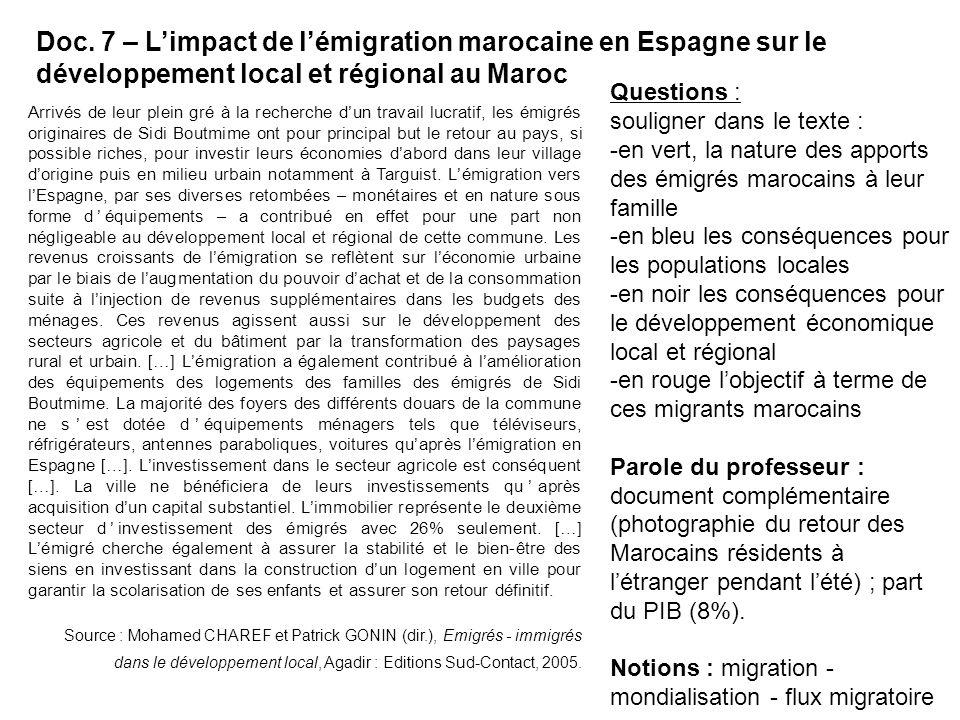 Doc. 7 – L'impact de l'émigration marocaine en Espagne sur le développement local et régional au Maroc