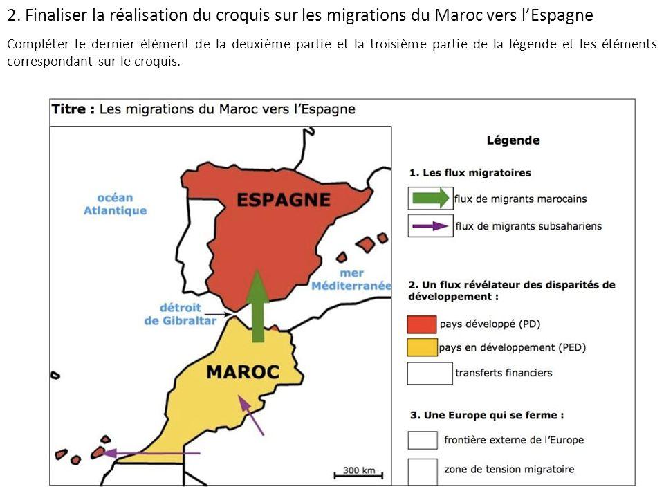 2. Finaliser la réalisation du croquis sur les migrations du Maroc vers l'Espagne
