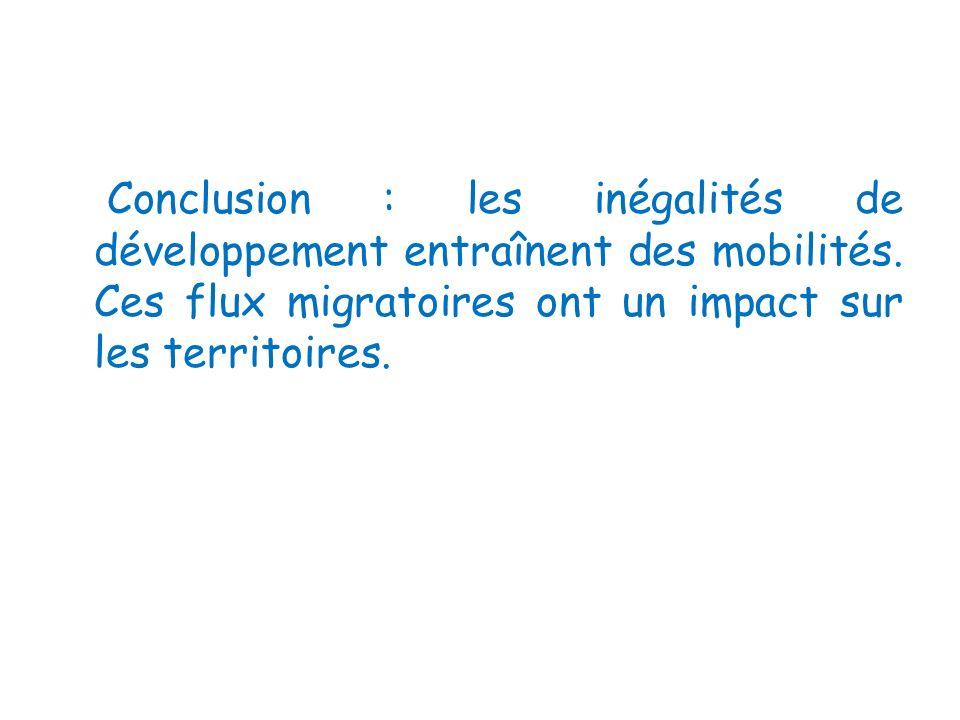 Conclusion : les inégalités de développement entraînent des mobilités