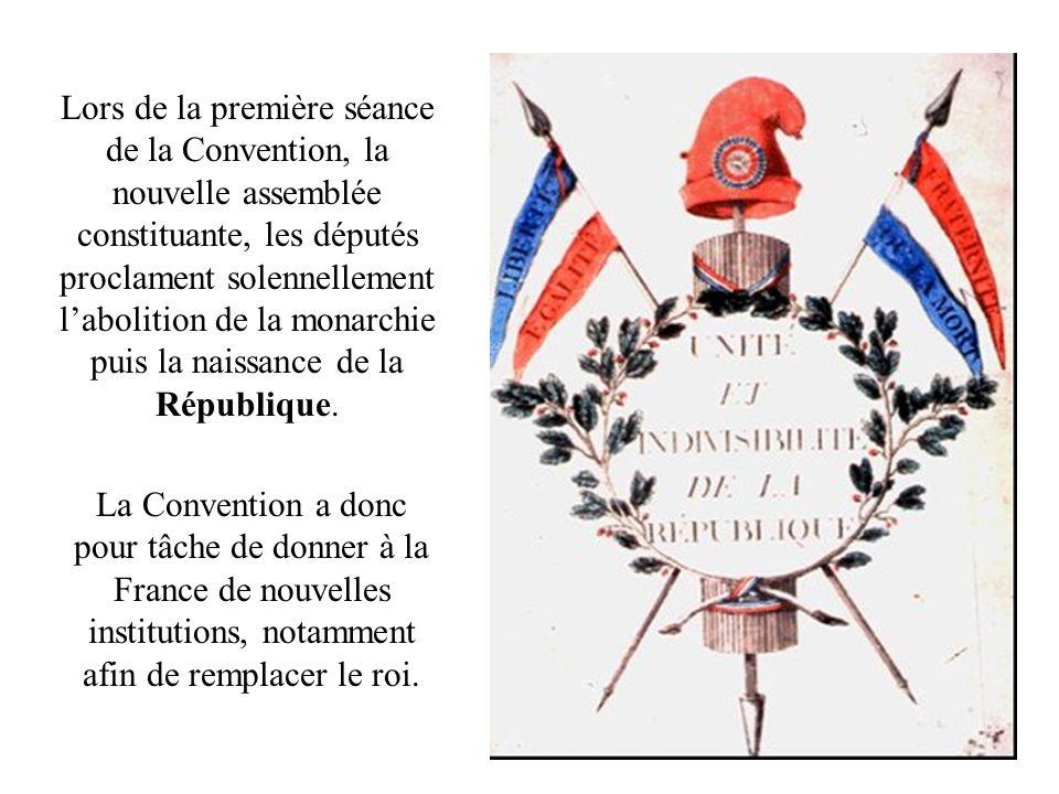 Lors de la première séance de la Convention, la nouvelle assemblée constituante, les députés proclament solennellement l'abolition de la monarchie puis la naissance de la République.