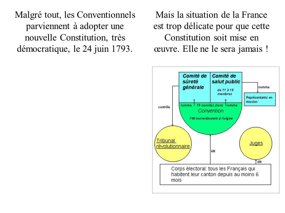 Malgré tout, les Conventionnels parviennent à adopter une nouvelle Constitution, très démocratique, le 24 juin 1793.