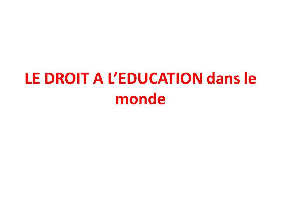 LE DROIT A L'EDUCATION dans le monde