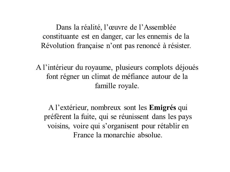 Dans la réalité, l'œuvre de l'Assemblée constituante est en danger, car les ennemis de la Révolution française n'ont pas renoncé à résister.