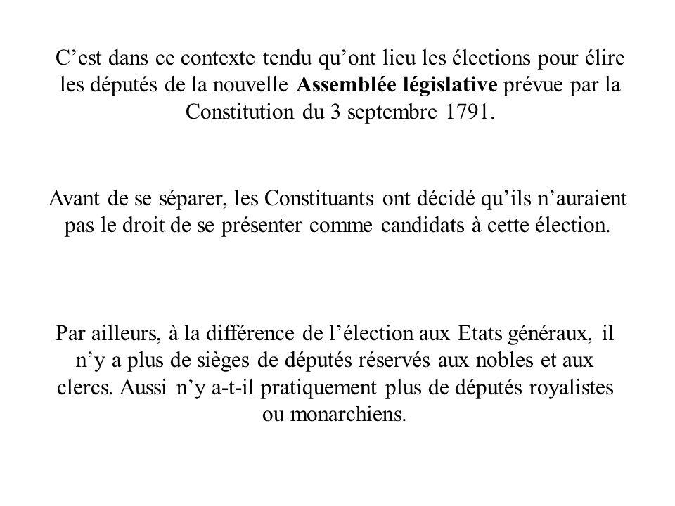 C'est dans ce contexte tendu qu'ont lieu les élections pour élire les députés de la nouvelle Assemblée législative prévue par la Constitution du 3 septembre 1791.