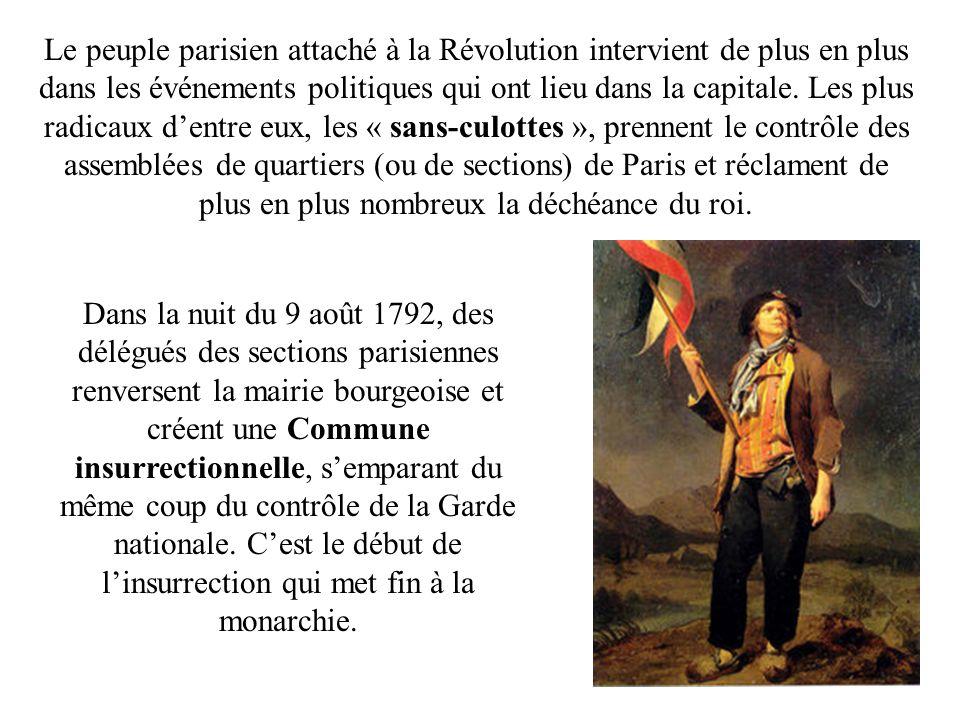 Le peuple parisien attaché à la Révolution intervient de plus en plus dans les événements politiques qui ont lieu dans la capitale. Les plus radicaux d'entre eux, les « sans-culottes », prennent le contrôle des assemblées de quartiers (ou de sections) de Paris et réclament de plus en plus nombreux la déchéance du roi.