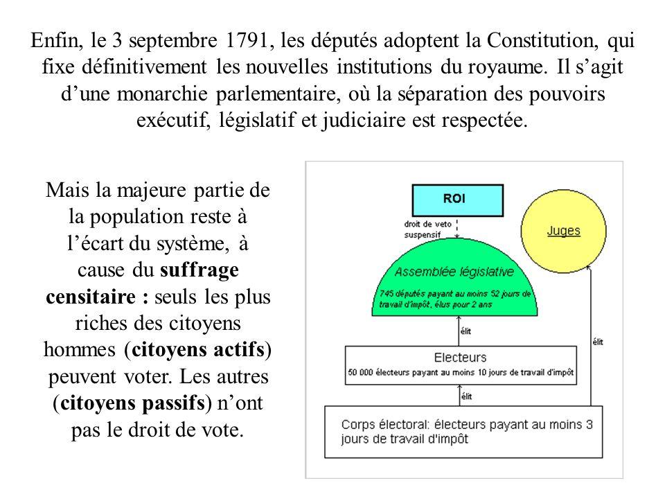 Enfin, le 3 septembre 1791, les députés adoptent la Constitution, qui fixe définitivement les nouvelles institutions du royaume. Il s'agit d'une monarchie parlementaire, où la séparation des pouvoirs exécutif, législatif et judiciaire est respectée.