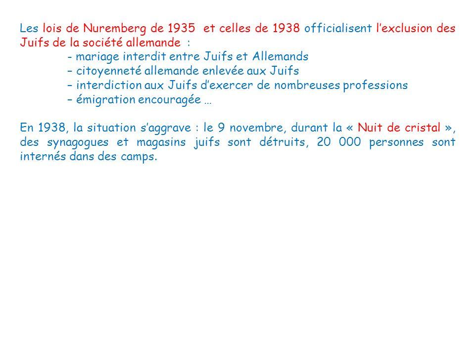 Les lois de Nuremberg de 1935 et celles de 1938 officialisent l'exclusion des Juifs de la société allemande :