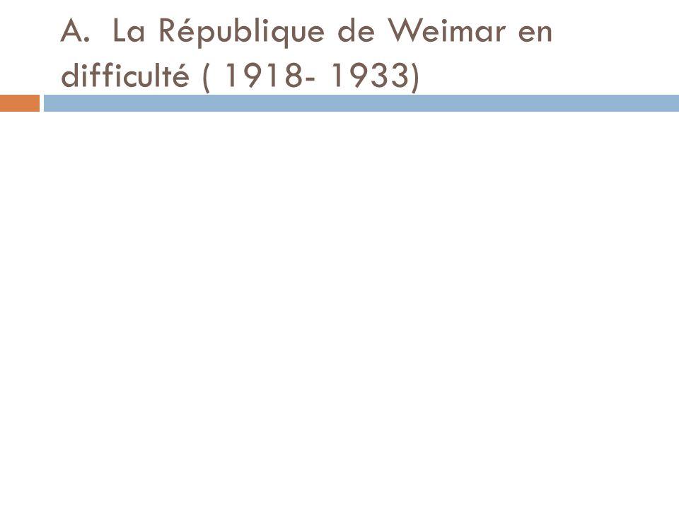 A. La République de Weimar en difficulté ( 1918- 1933)