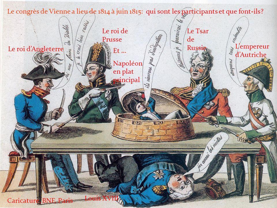 Le congrès de Vienne a lieu de 1814 à juin 1815: