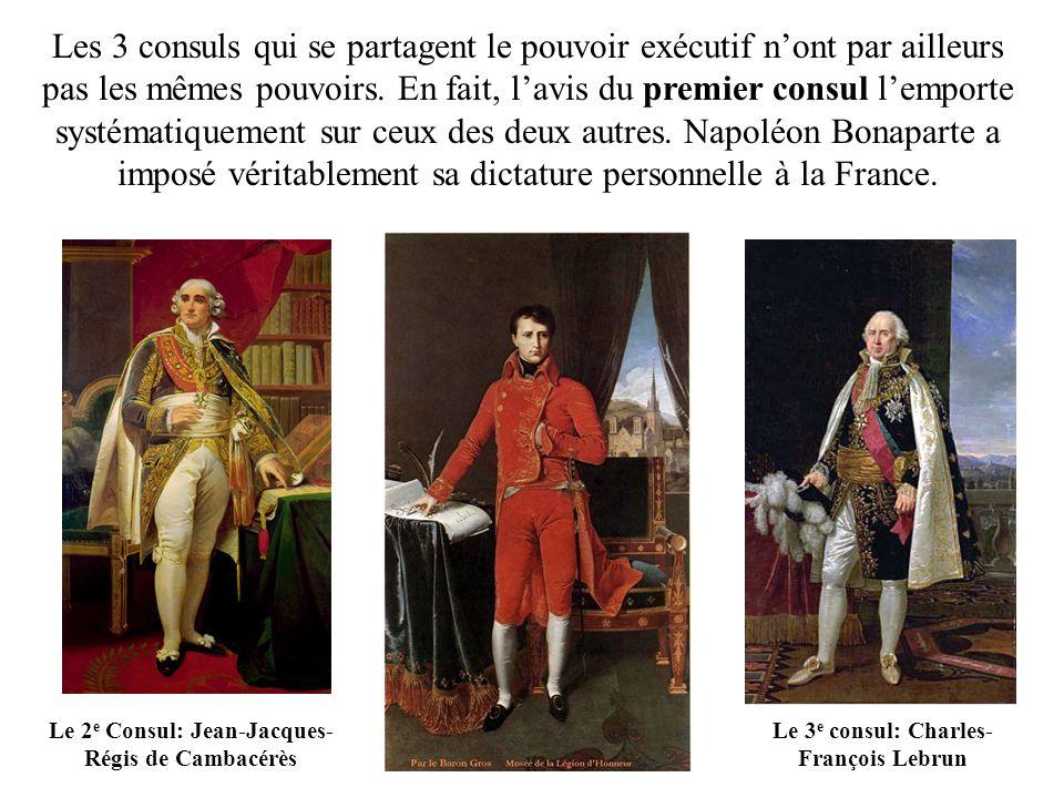Les 3 consuls qui se partagent le pouvoir exécutif n'ont par ailleurs pas les mêmes pouvoirs. En fait, l'avis du premier consul l'emporte systématiquement sur ceux des deux autres. Napoléon Bonaparte a imposé véritablement sa dictature personnelle à la France.