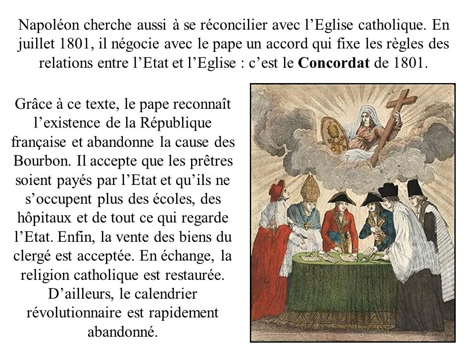 Napoléon cherche aussi à se réconcilier avec l'Eglise catholique