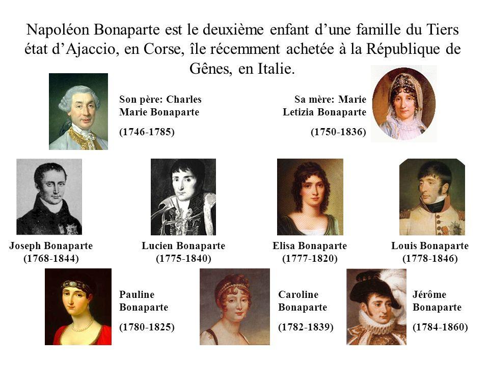 Napoléon Bonaparte est le deuxième enfant d'une famille du Tiers état d'Ajaccio, en Corse, île récemment achetée à la République de Gênes, en Italie.