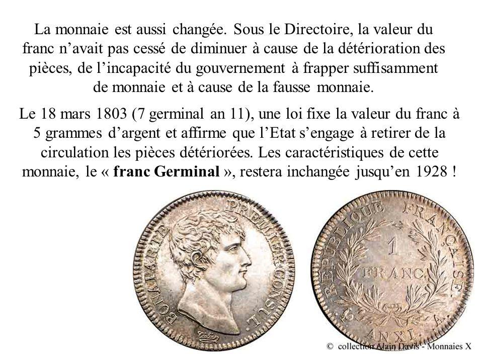 La monnaie est aussi changée