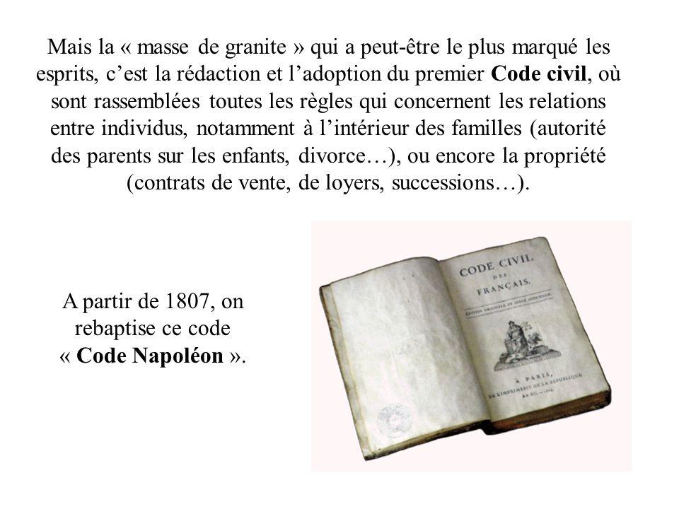 A partir de 1807, on rebaptise ce code « Code Napoléon ».