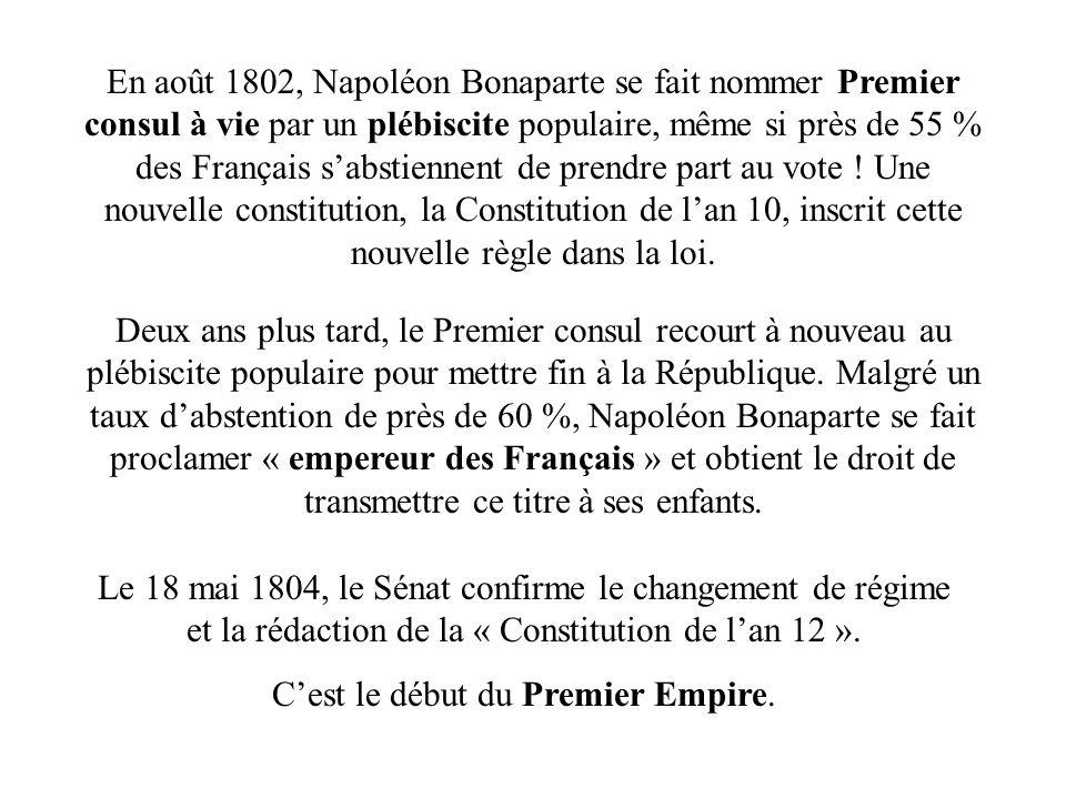 C'est le début du Premier Empire.