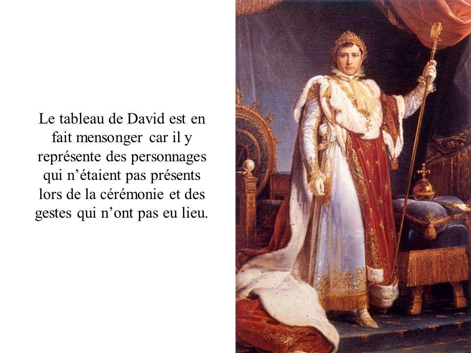 Le tableau de David est en fait mensonger car il y représente des personnages qui n'étaient pas présents lors de la cérémonie et des gestes qui n'ont pas eu lieu.