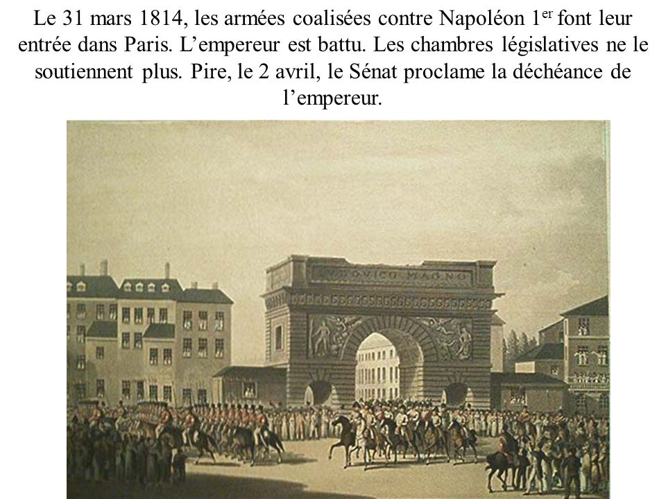 Le 31 mars 1814, les armées coalisées contre Napoléon 1er font leur entrée dans Paris.