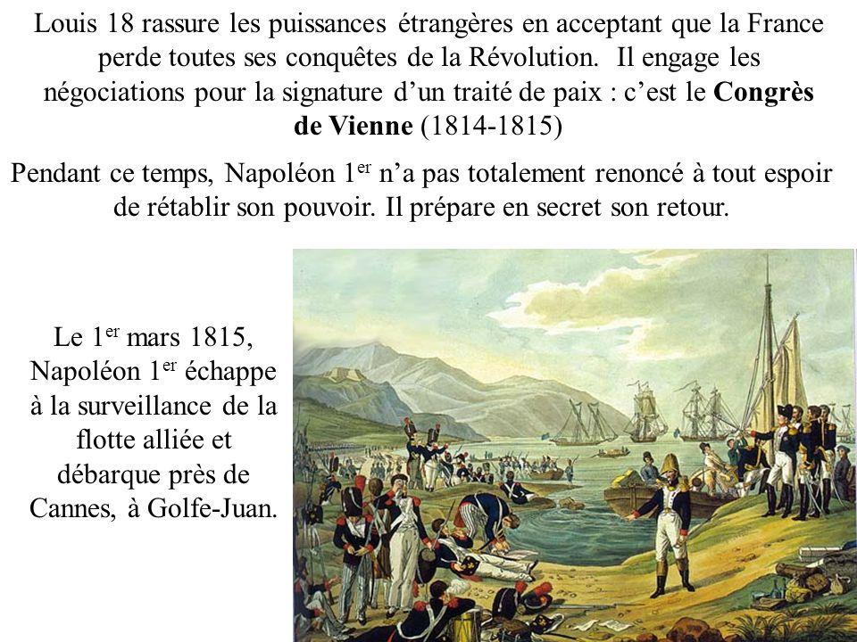 Louis 18 rassure les puissances étrangères en acceptant que la France perde toutes ses conquêtes de la Révolution. Il engage les négociations pour la signature d'un traité de paix : c'est le Congrès de Vienne (1814-1815)
