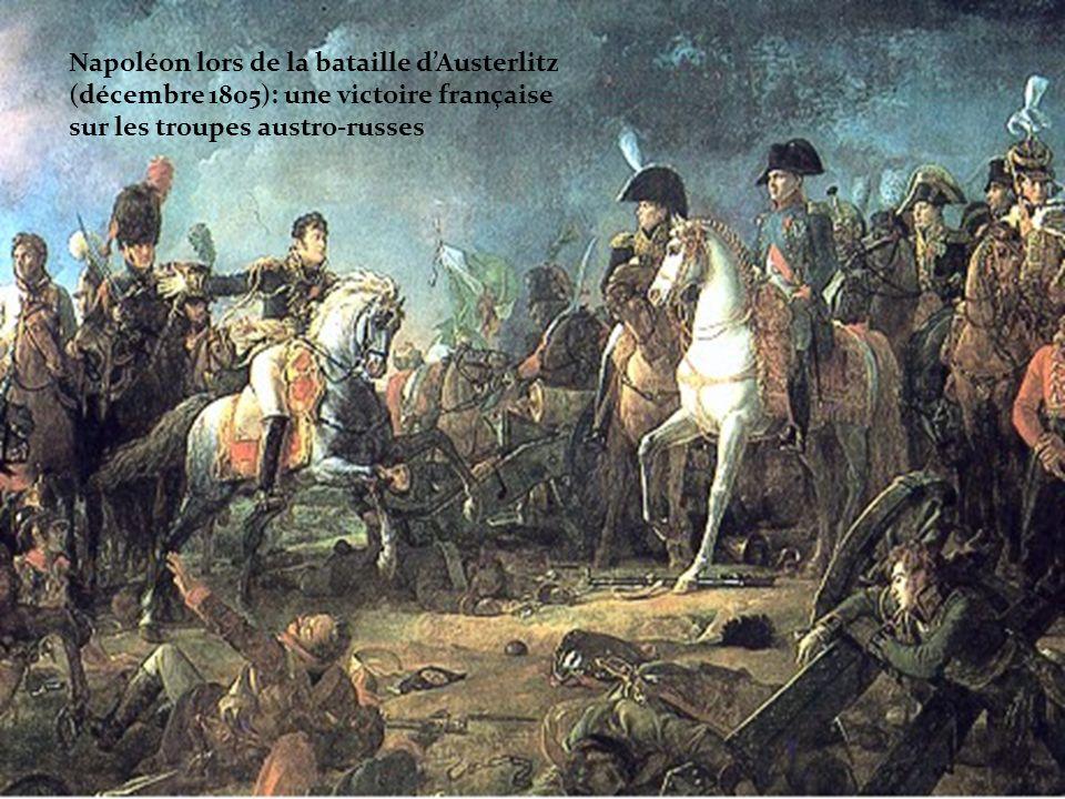 Napoléon lors de la bataille d'Austerlitz (décembre 1805): une victoire française sur les troupes austro-russes