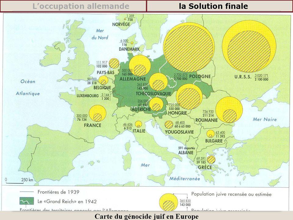 Carte du génocide juif en Europe