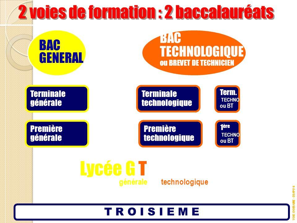 Lycée G T 2 voies de formation : 2 baccalauréats BAC BAC TECHNOLOGIQUE