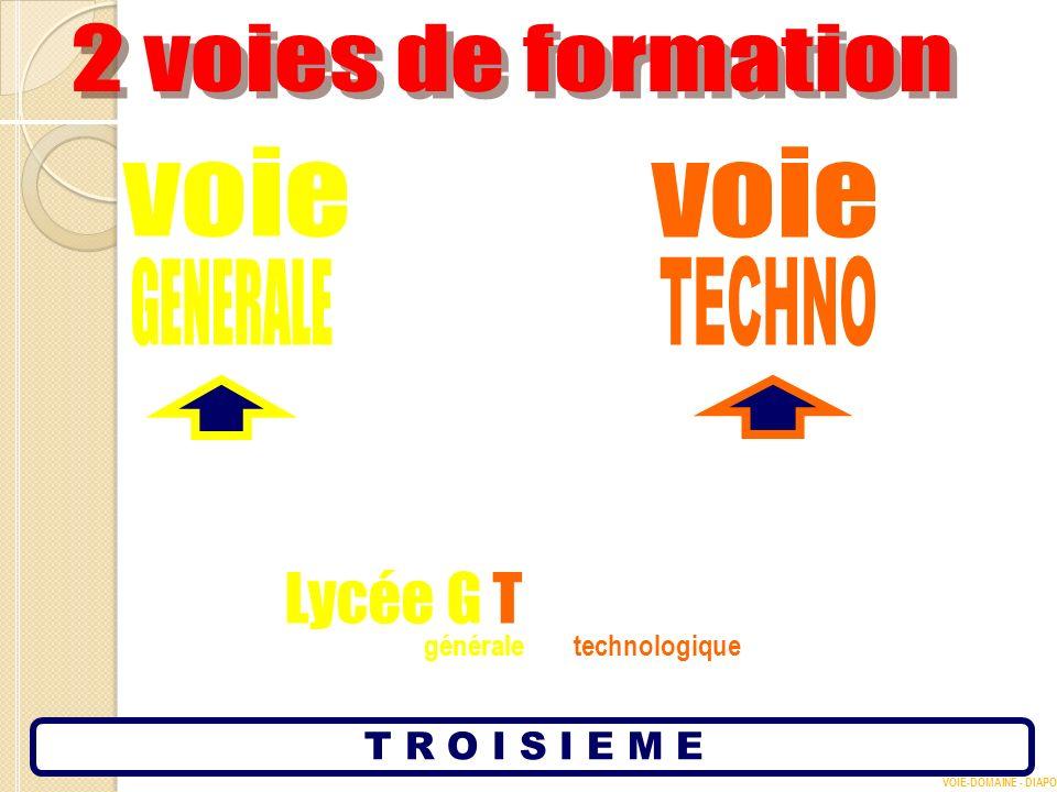 Lycée G T SECONDE PRO 2 voies de formation voie voie GENERALE TECHNO