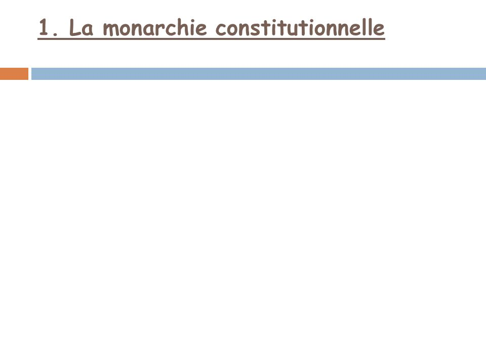 1. La monarchie constitutionnelle