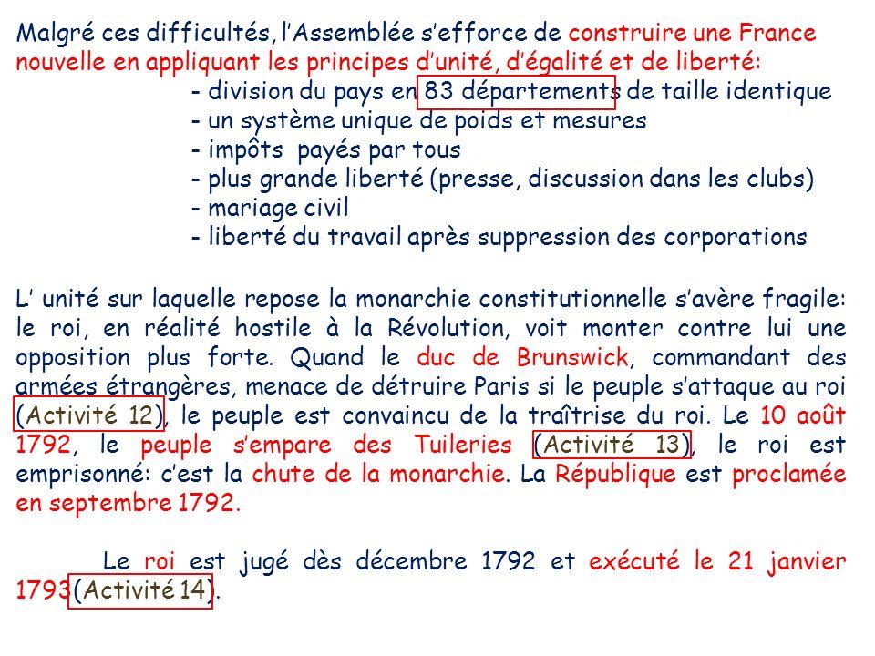 Malgré ces difficultés, l'Assemblée s'efforce de construire une France nouvelle en appliquant les principes d'unité, d'égalité et de liberté: