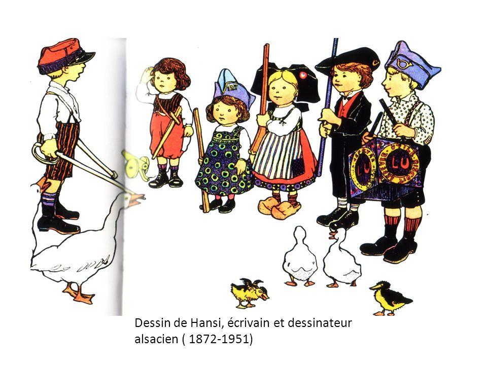 Dessin de Hansi, écrivain et dessinateur alsacien ( 1872-1951)