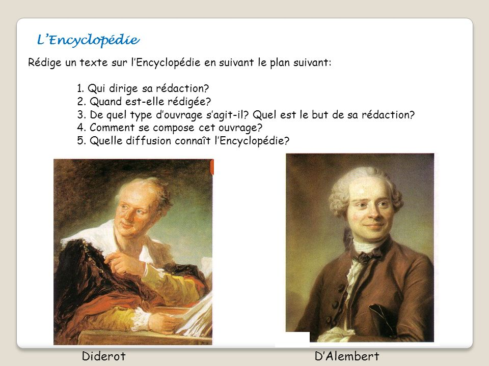 L'Encyclopédie Diderot D'Alembert