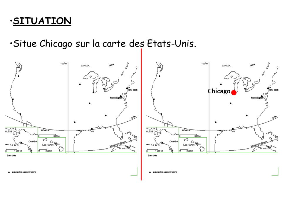 Situe Chicago sur la carte des Etats-Unis.