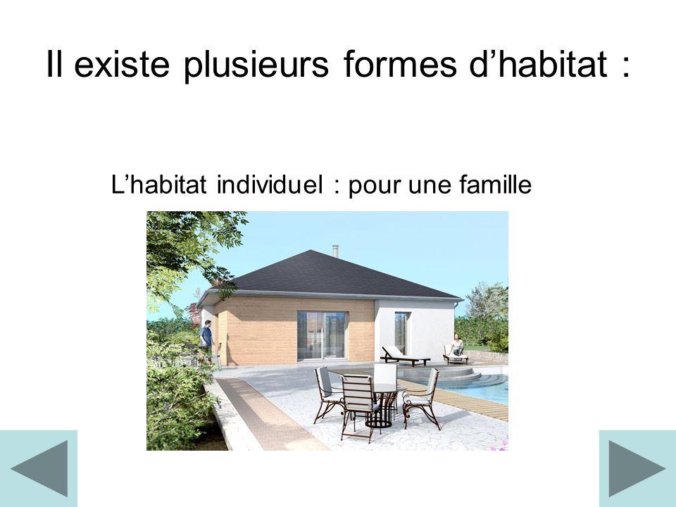 Il existe plusieurs formes d'habitat :