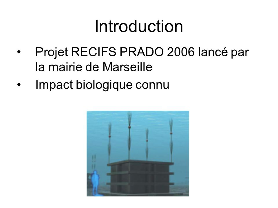 Introduction Projet RECIFS PRADO 2006 lancé par la mairie de Marseille