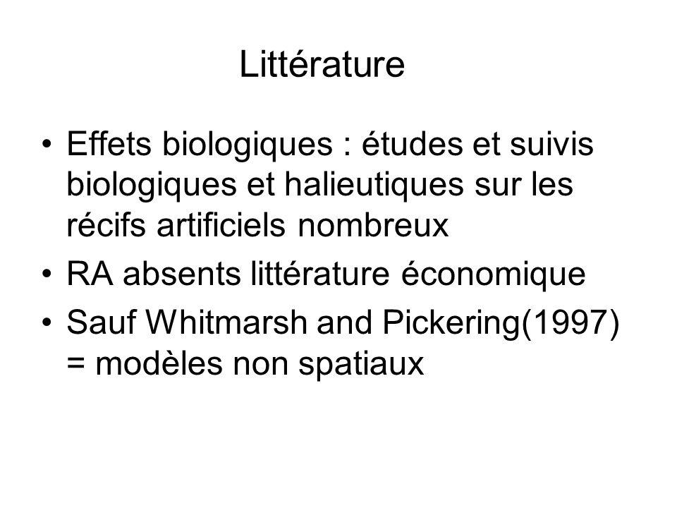 Littérature Effets biologiques : études et suivis biologiques et halieutiques sur les récifs artificiels nombreux.