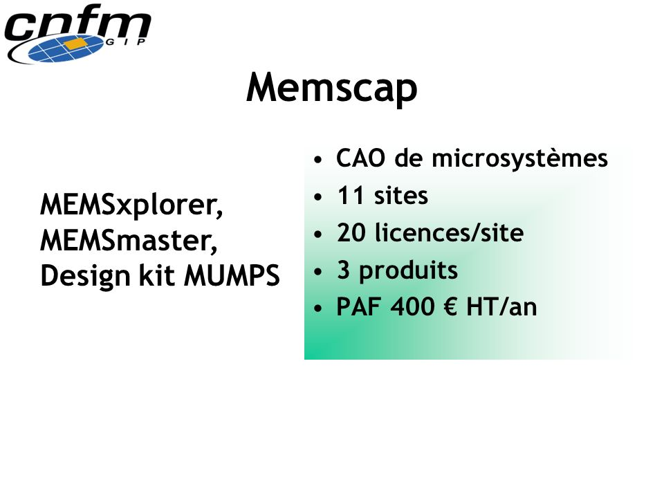 Memscap MEMSxplorer, MEMSmaster, Design kit MUMPS CAO de microsystèmes