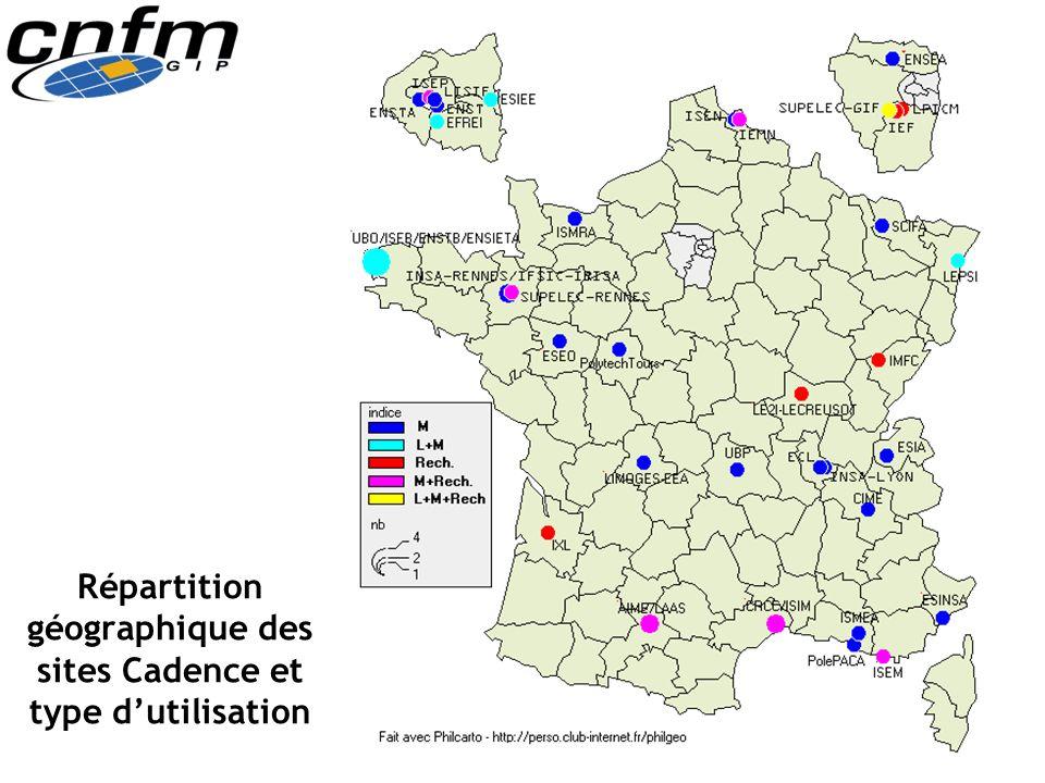 Répartition géographique des sites Cadence et type d'utilisation