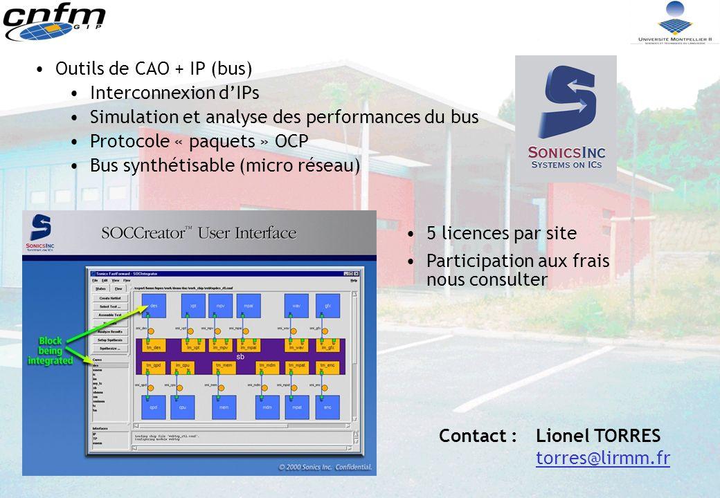 Outils de CAO + IP (bus) Interconnexion d'IPs. Simulation et analyse des performances du bus. Protocole « paquets » OCP.