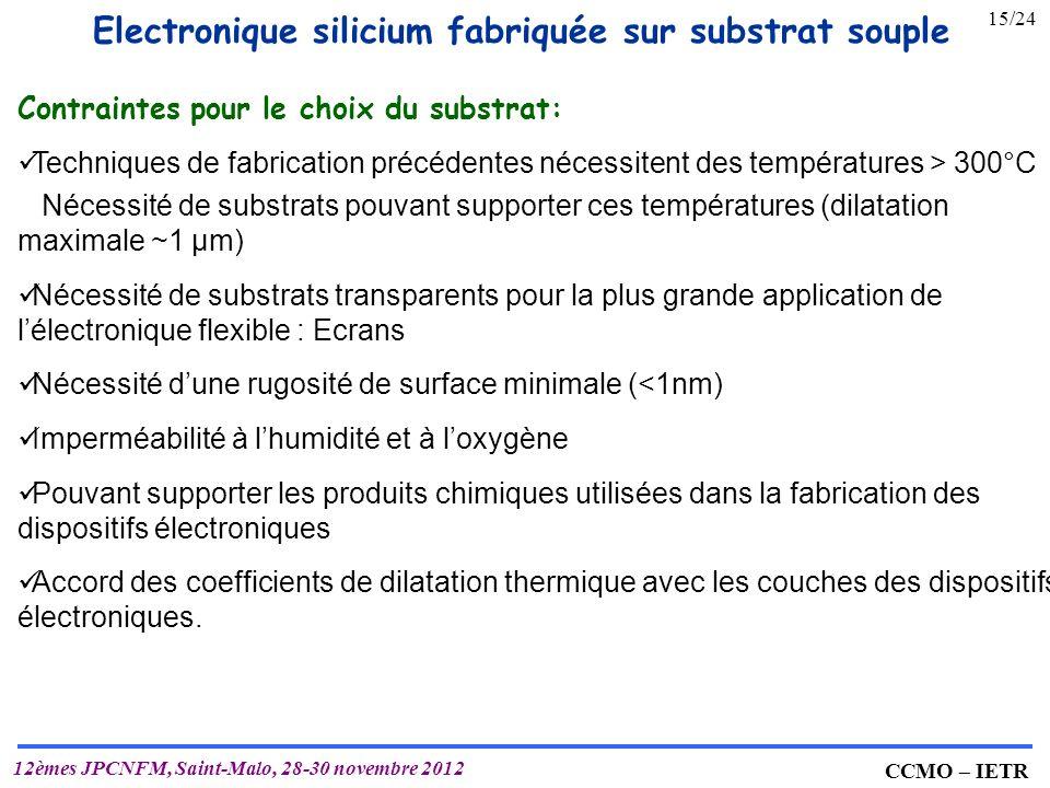 Electronique silicium fabriquée sur substrat souple