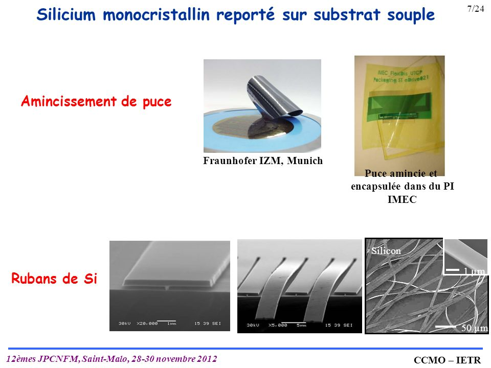 Silicium monocristallin reporté sur substrat souple