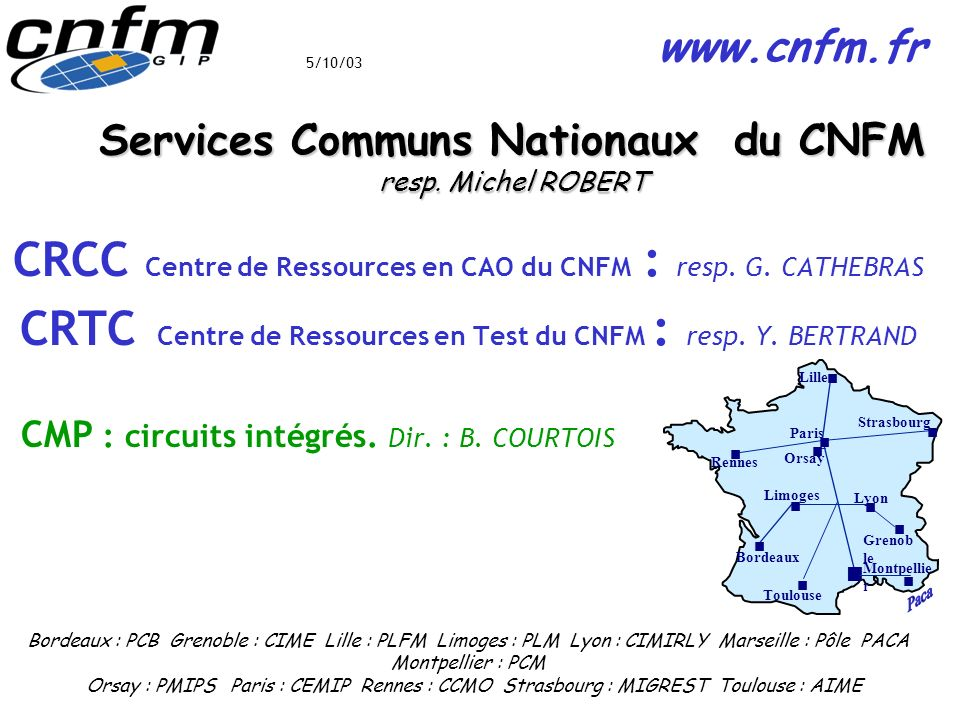 Services Communs Nationaux du CNFM resp. Michel ROBERT