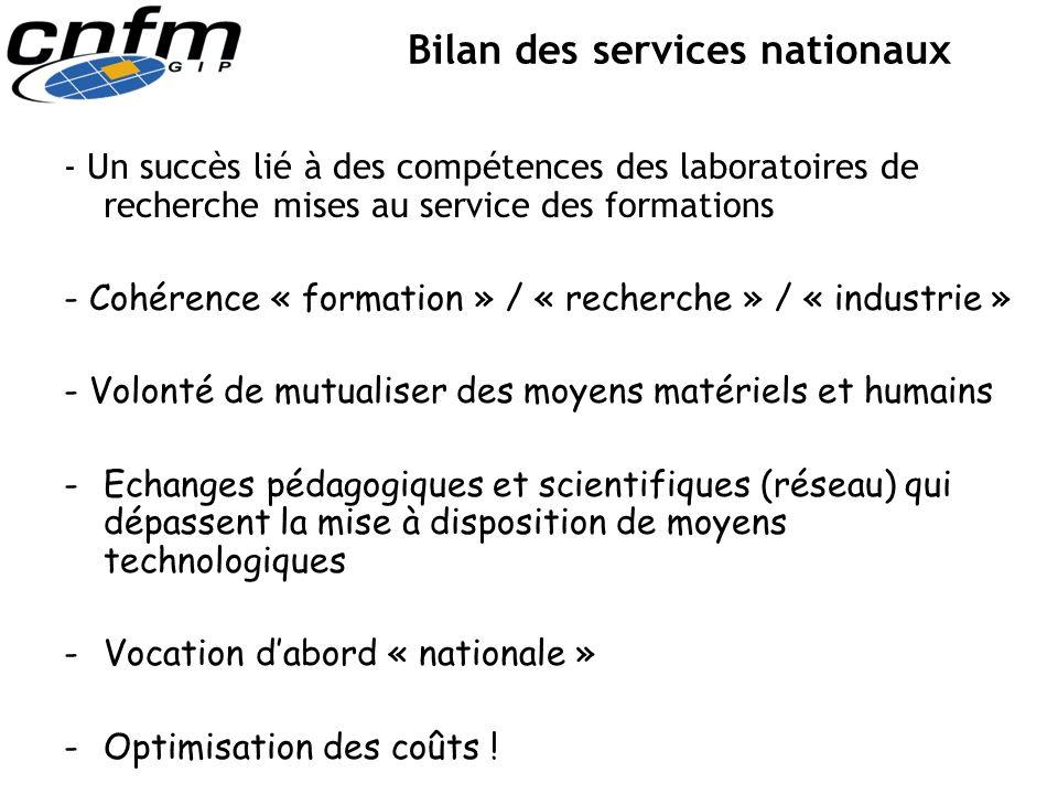 Bilan des services nationaux