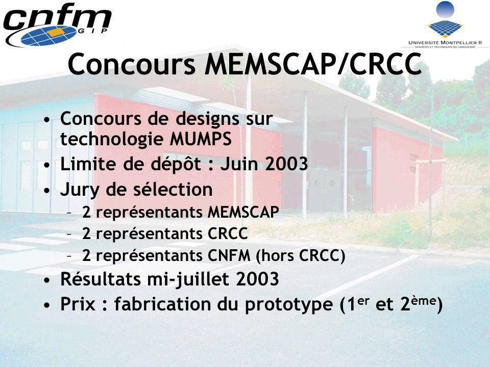 Concours MEMSCAP/CRCC